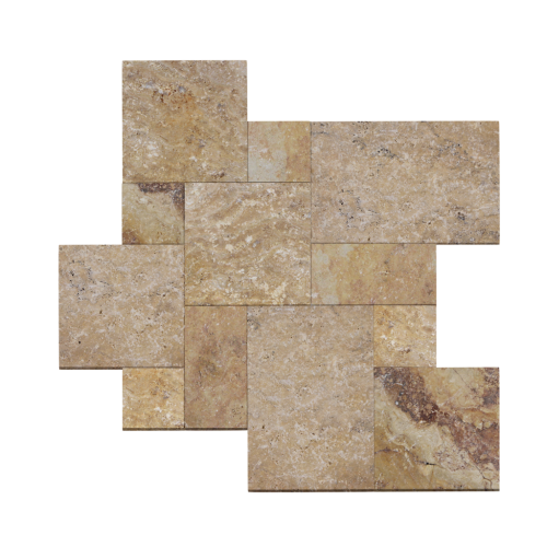 Scabos Travertine Tumbled French Pattern Paver