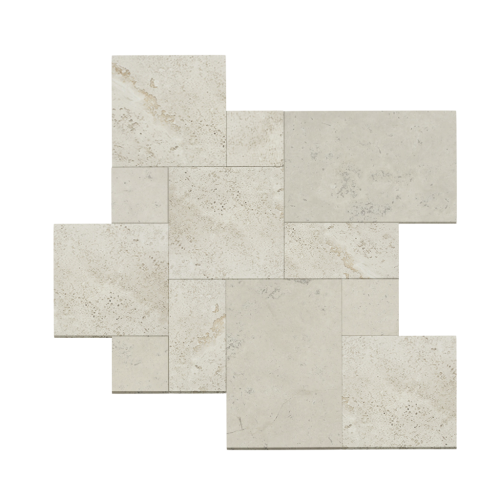 White Travertine Tumbled French Pattern Paver