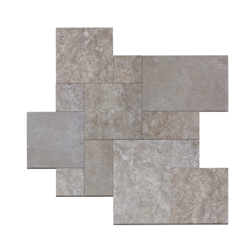 Noce Travertine Tumbled French Pattern Paver