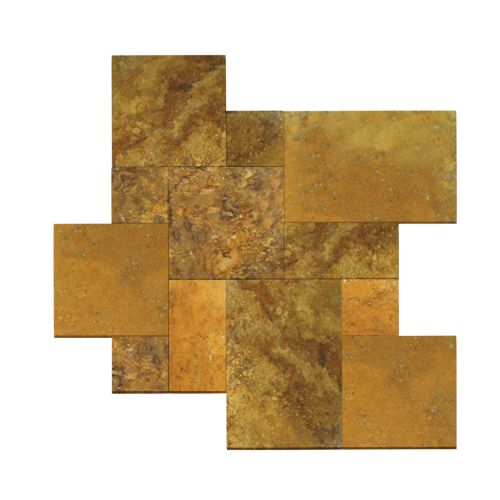 Gold Travertine Tumbled French Pattern Paver
