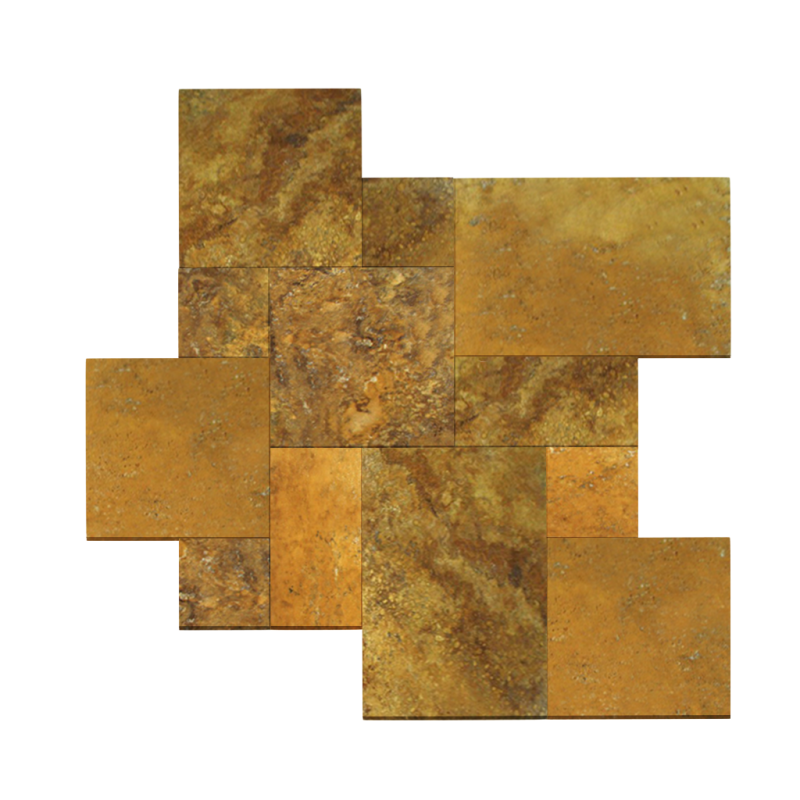 Gold Travertine Tumbled French Pattern