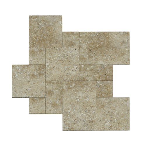 French Pattern Earthstone Tumbled Travertine Tile