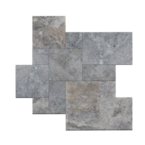 Silver Travertine Tumbled French Pattern Paver