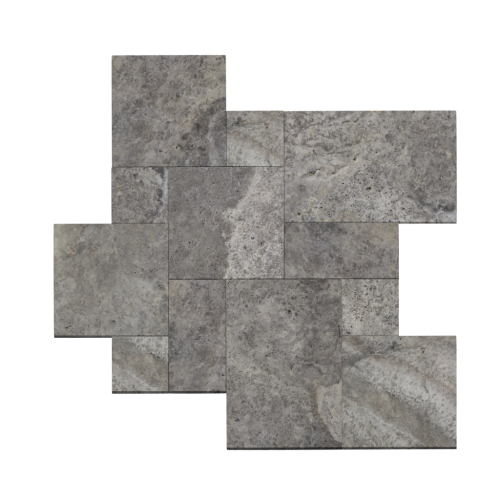 French Pattern Silver Brushed Travertine Tile